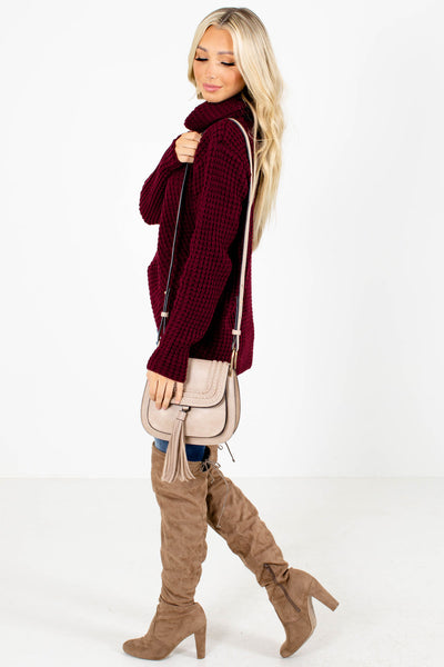 Women's Burgundy High-Low Hem Boutique Sweater