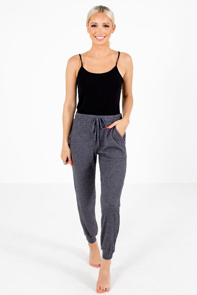 Gray Boutqiue Lounge Pants with Pockets for Women