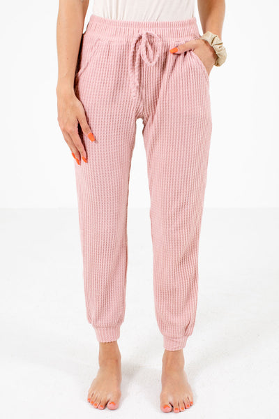 Pink Waffle Knit Material Boutique Pants for Women