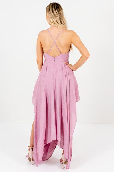Light Pink-Purple Draped Handerkchief Hem Long Maxi Prom Dresses