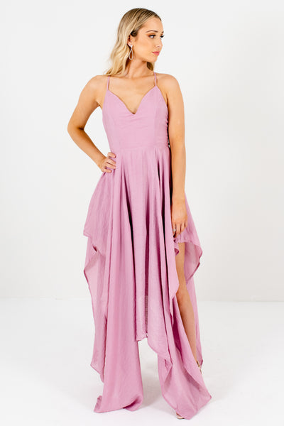Light Purple Pink Draped Handkerchief Hem Long Maxi Dresses
