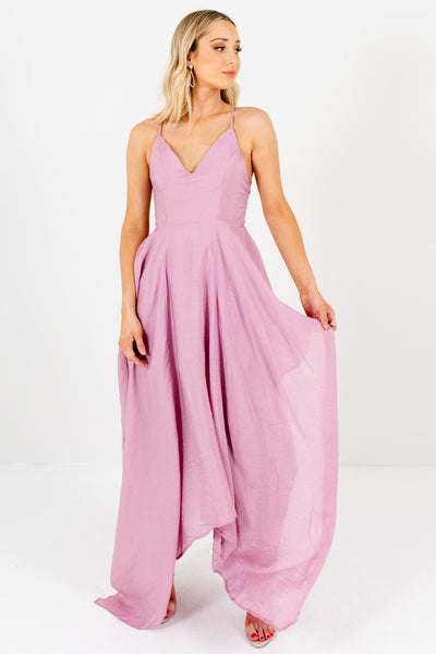 Pink-Purple Draped Handkerchief Hem Boutique Maxi Dresses