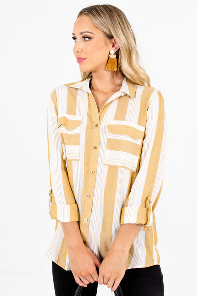 Women's Yellow Lightweight High-Quality Boutique Shirts