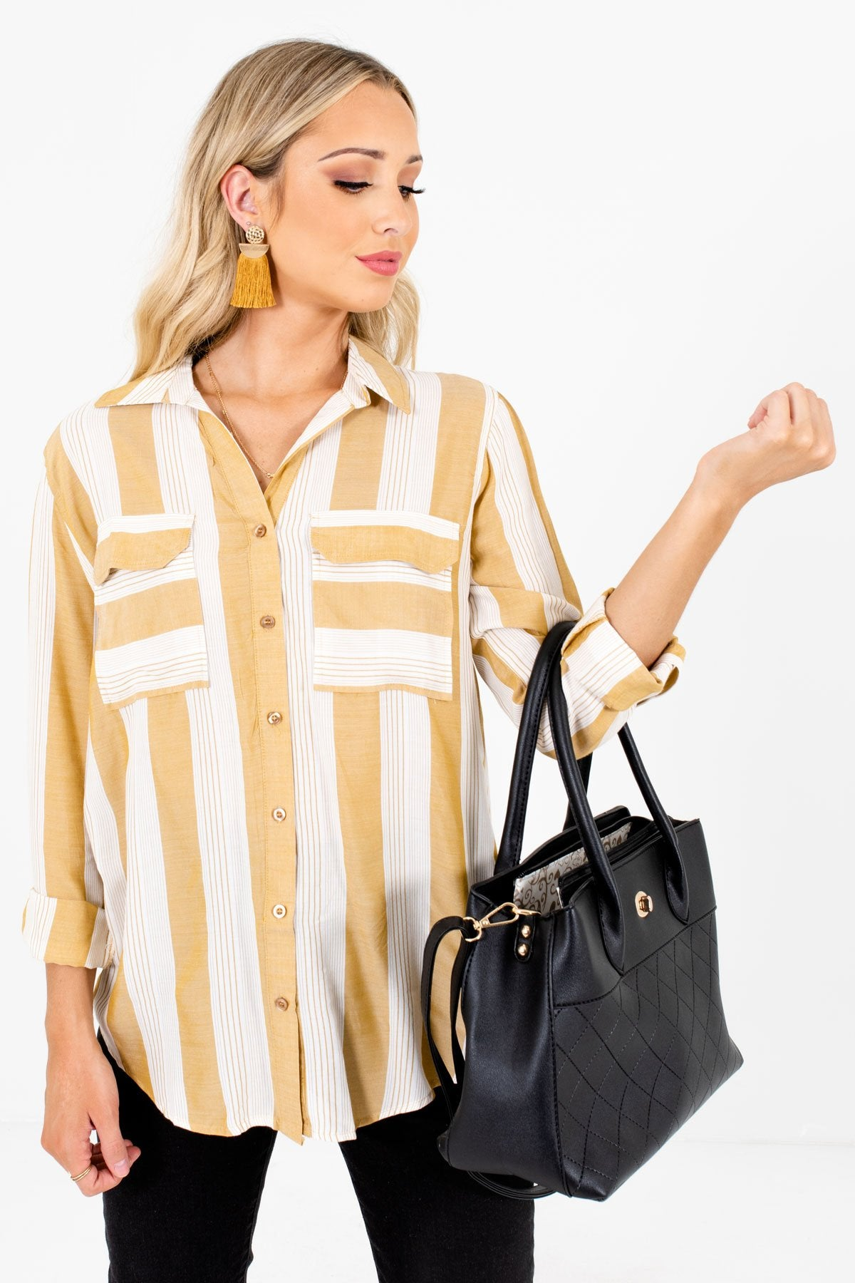Yellow and White Stripe Patterned Boutique Shirts for Women