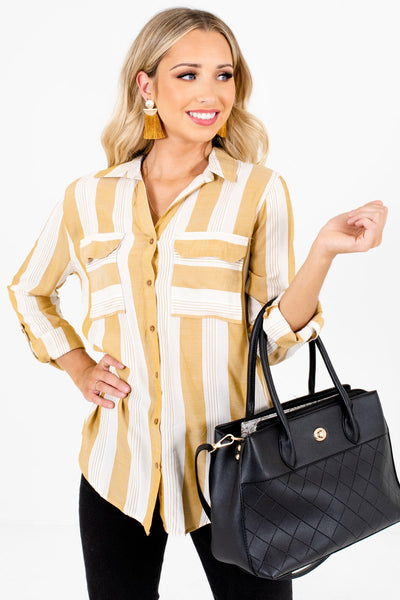 Women's Yellow Business Casual Boutique Shirt