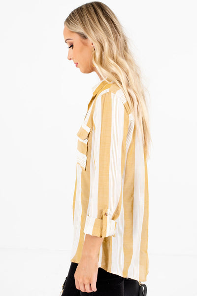 Yellow Front Pocket Boutique Shirts for Women