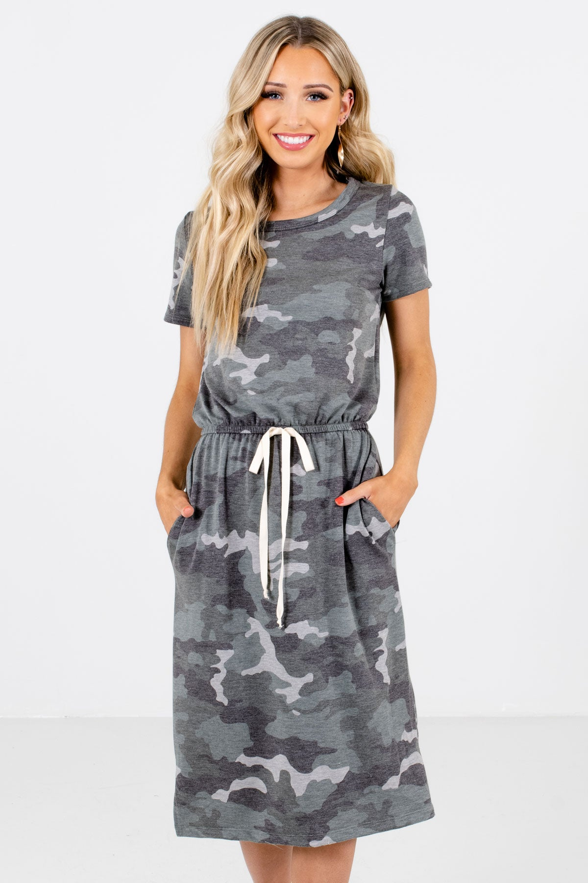 Green Camo Print Boutique Knee-Length Dresses for Women