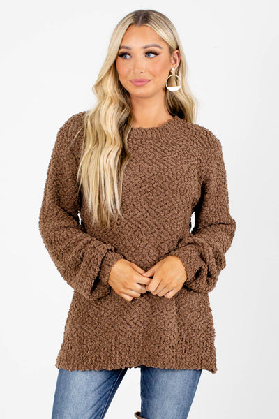 Brown Popcorn Knit Boutique Sweaters for Women