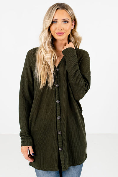 Women's Olive Green Warm and Cozy Boutique Tops