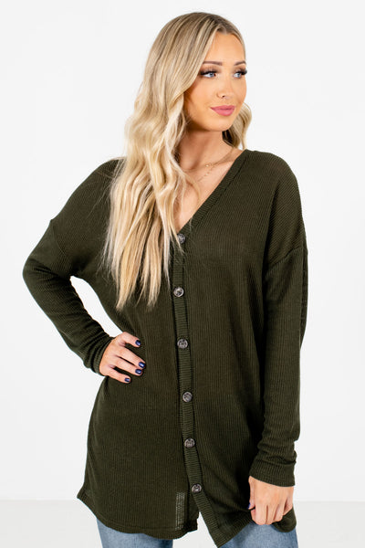 Women's Olive Green High-Quality Knit Material Boutique Tops