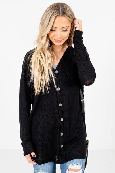 Black Button-Up Front Boutique Tops for Women
