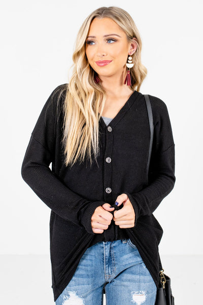 Women's Black High-Quality Knit Material Boutique Tops