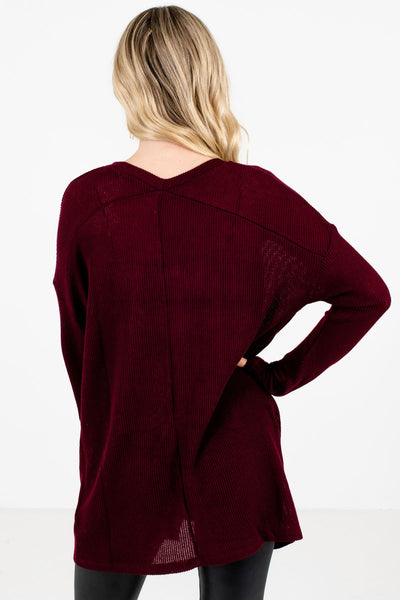 Women's Burgundy V-Neckline Boutique Tops