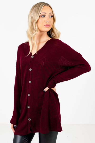 Burgundy Button-Up Front Boutique Tops for Women