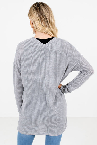 Women's Heather Gray V-Neckline Boutique Tops