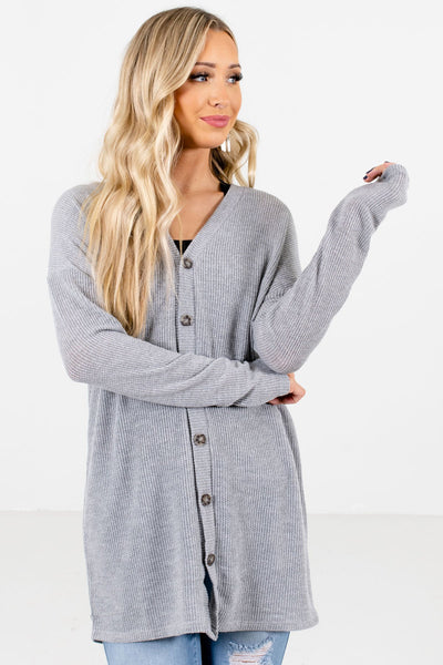 Women's Heather Gray Warm and Cozy Boutique Tops