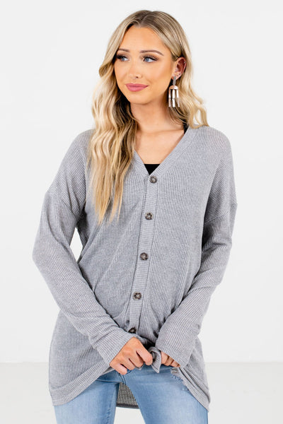 Heather Gray Button-Up Front Boutique Tops for Women