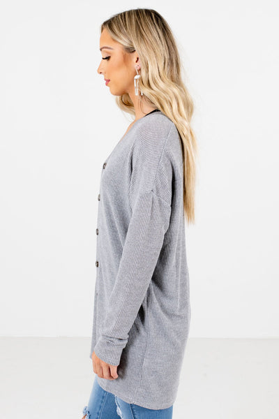 Heather Gray Longer Length Boutique Tops for Women
