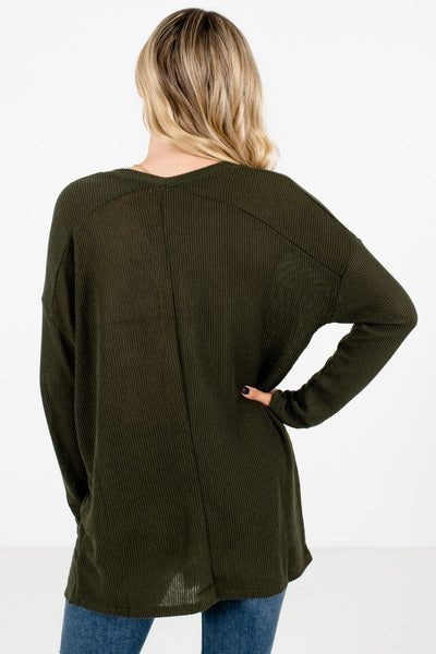 Women's Olive Green V-Neckline Boutique Tops