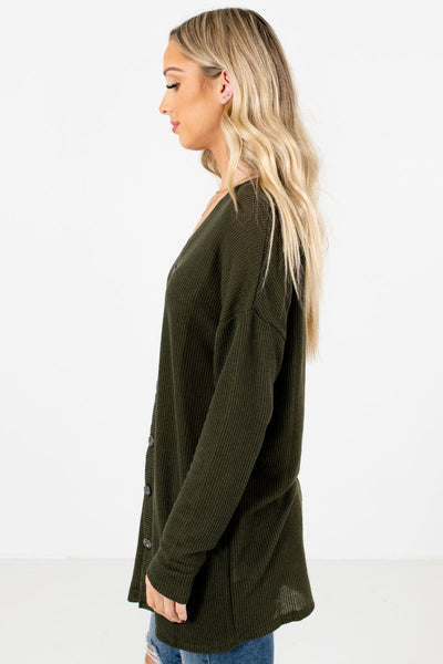 Olive Green Longer Length Boutique Tops for Women