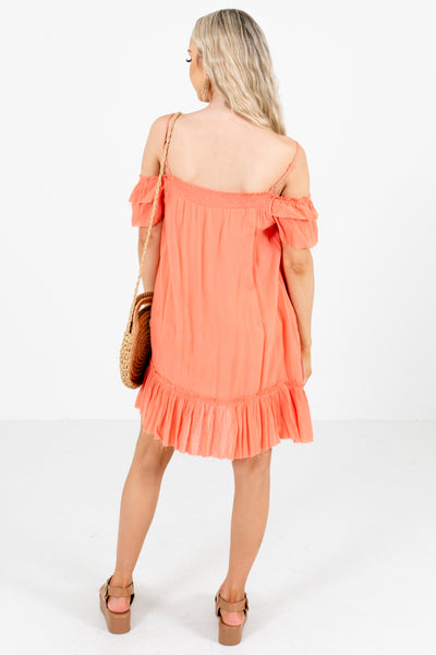 Women's Coral Embroidered Boutique Mini Dress