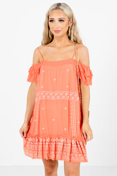Coral Cold Shoulder Style Boutique Mini Dresses for Women