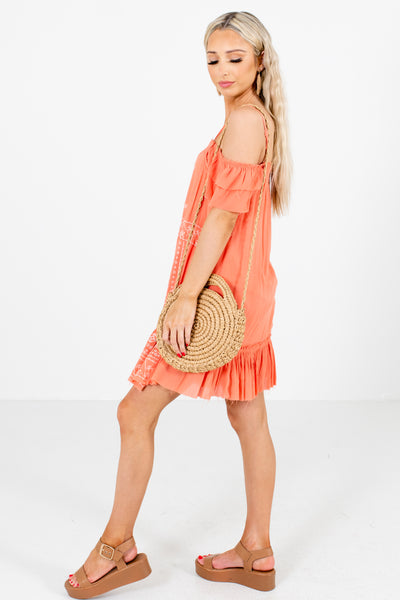 Coral Ruffle Accented Boutique Mini Dresses for Women