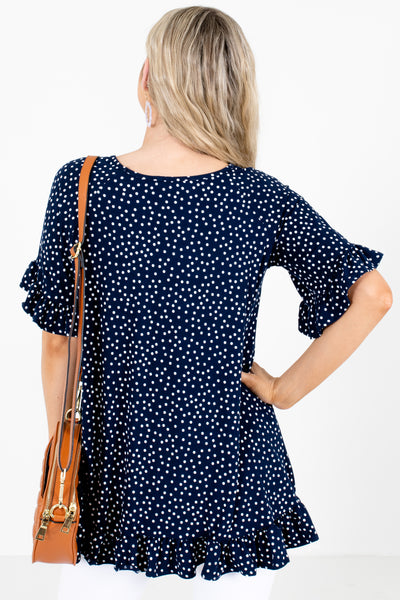 Women's Navy Blue Ruffle Accented Boutique Blouse