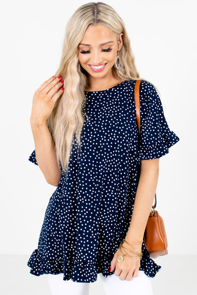 Navy Blue and White Polka Dot Patterned Boutique Blouses for Women