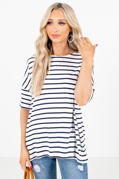 White and Navy Blue Stripe Patterned Boutique Tops for Women, business casual women