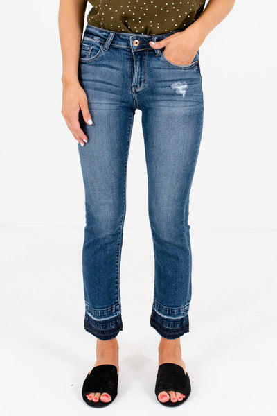 Medium Wash Blue Denim Raw Hem Boutique Jeans for Women