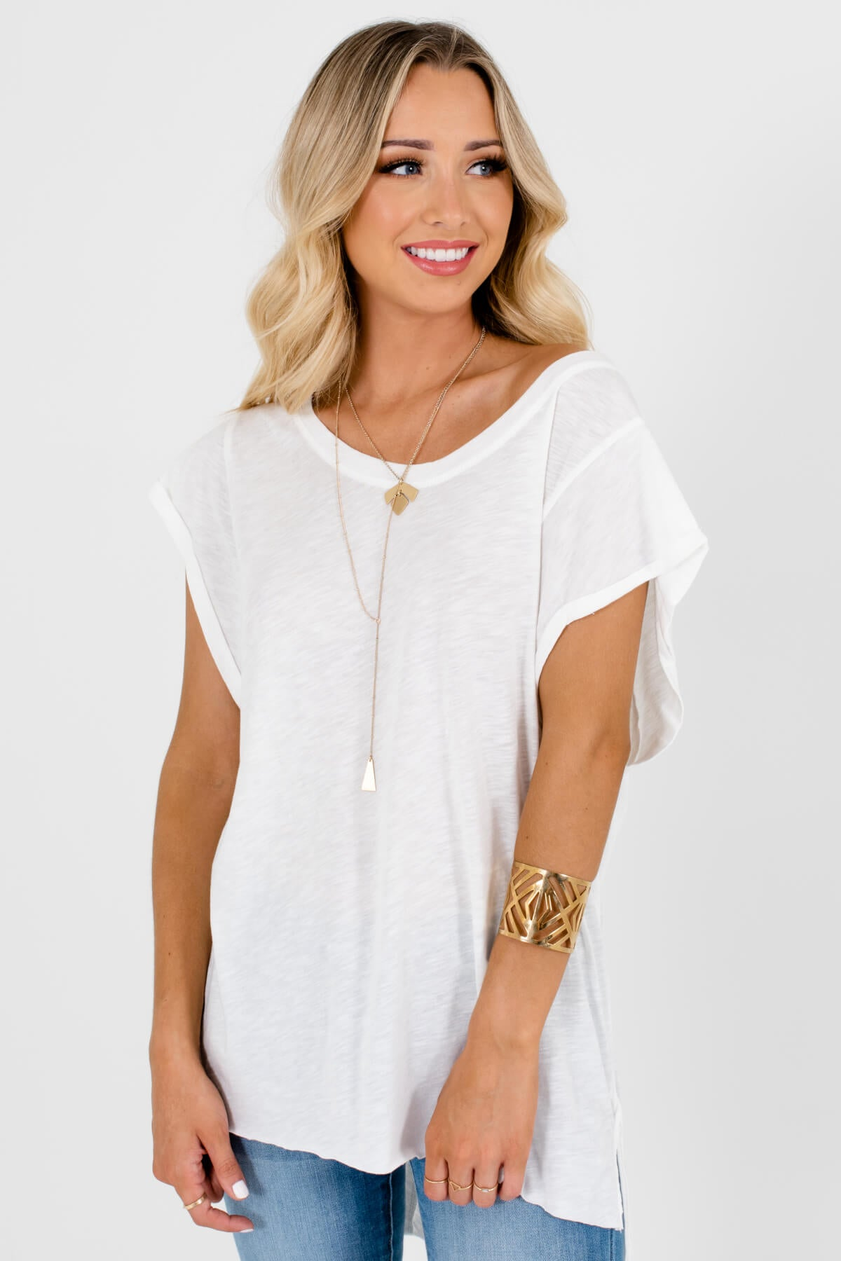 White High-Low Hem Boutique T-Shirts for Women