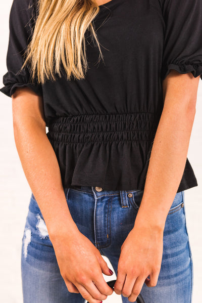 Black Women's Boutique Top with Ruffled Detailing