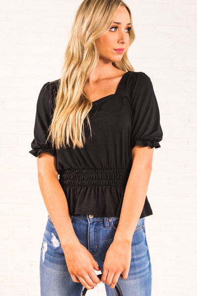 Black Casual Everyday Bouitque Tops for Women