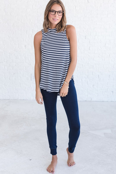 Navy Blue Lightweight Flattering Tank Tops for Women