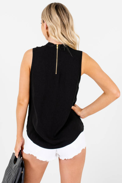 Black Cutout Neckline Business Casual Tank Tops for Women