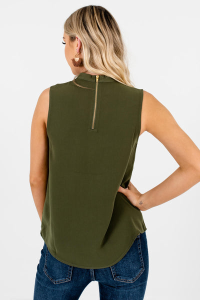 Olive Green Gold Zipper Keyhole Cutout Tank Tops for Women