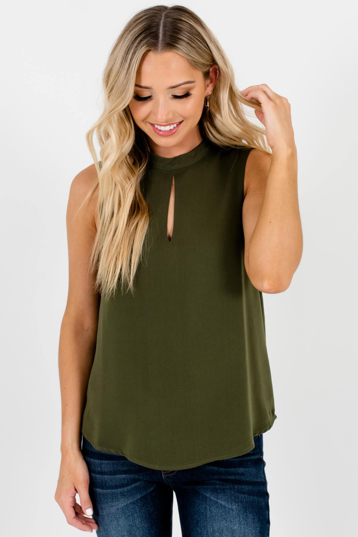 Olive Green High Neckline Keyhole Cutout Tank Tops for Women