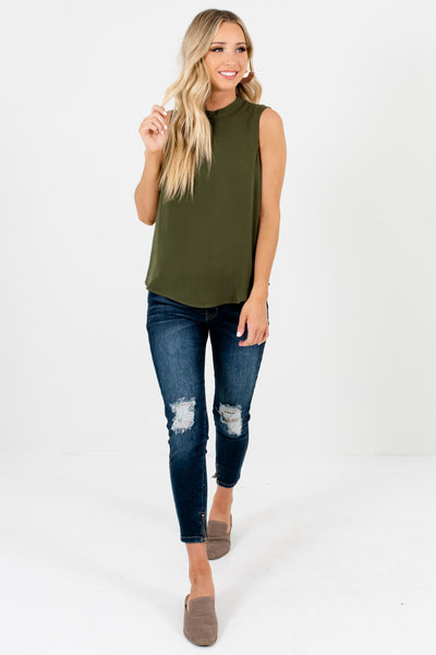 Olive Green High Neckline Keyhole Cutout Tank Blouses for Women