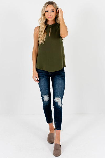 Olive Green Boutique High Neckline Keyhole Cutout Tank Tops
