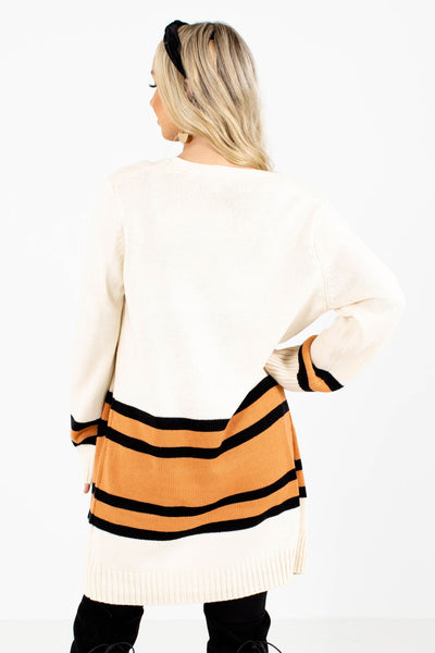 Women's Orange Boutique Cardigans with Pockets