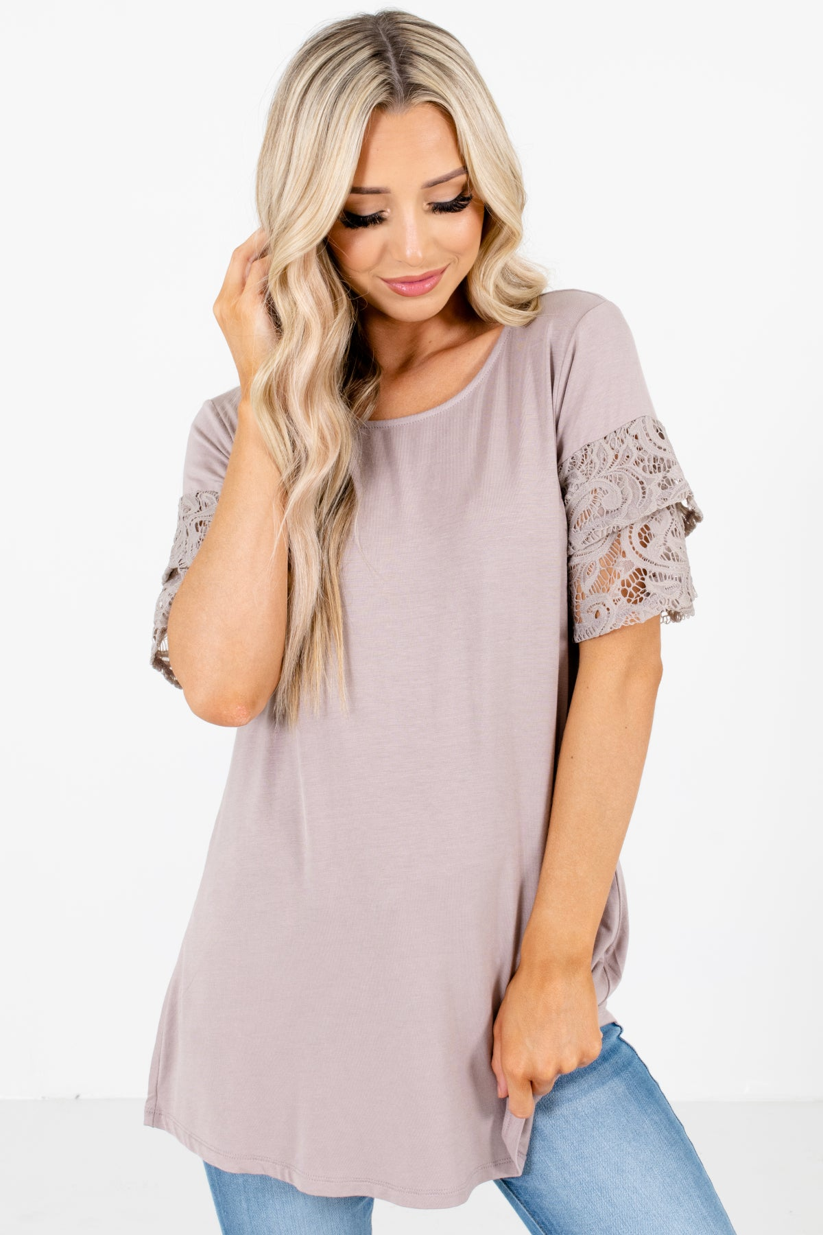 Brown Lace Sleeve Boutique Tops for Women