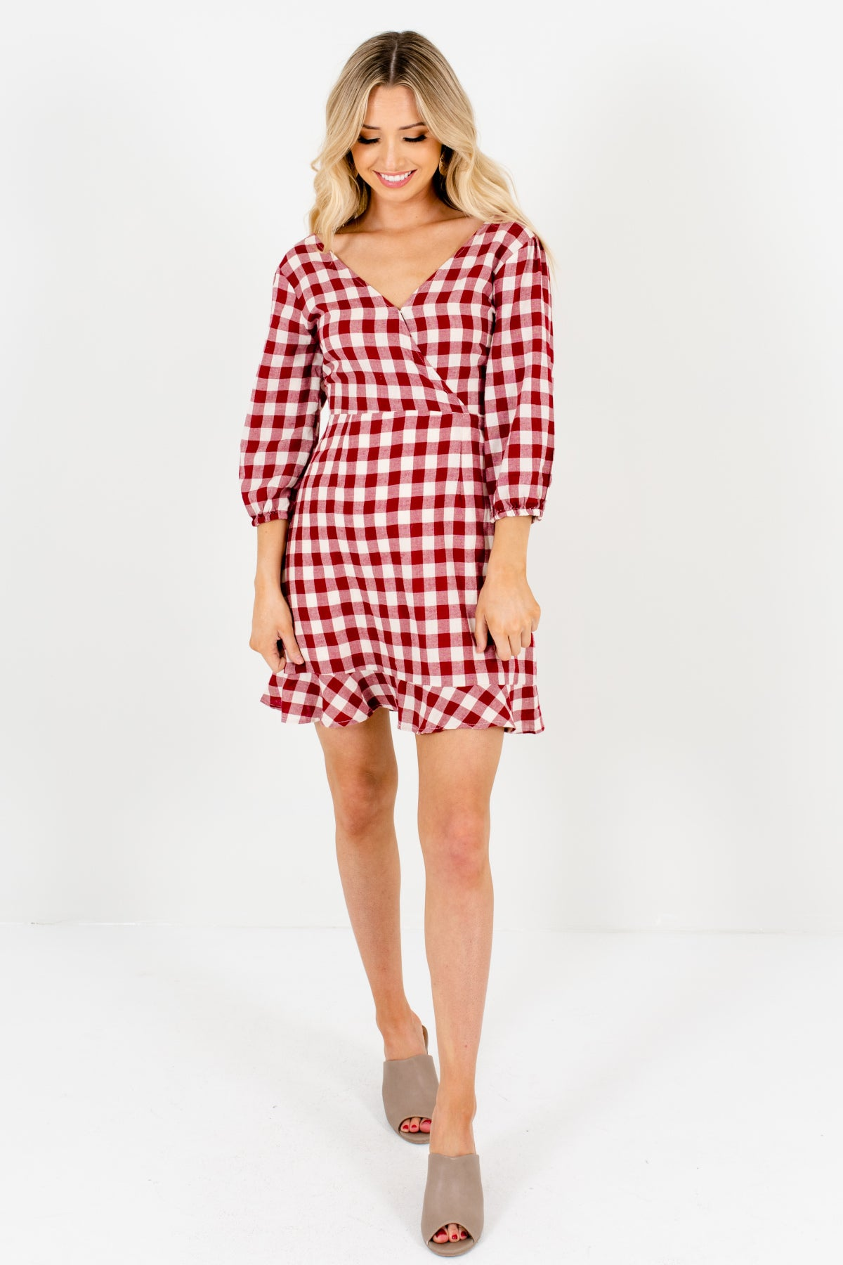 5842ed4ae585b Double Date Red Gingham Mini Dress | Vintage-Inspired Boutitque