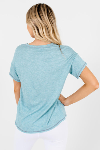 Women's Light Heather Blue Gray Stitched Boutique Tees