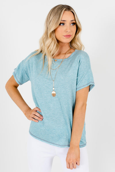 Light Heather Blue Casual Boutique T-Shirts for Women