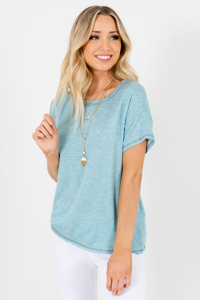 Light Heather Blue Short Sleeve Boutique T-Shirts for Women