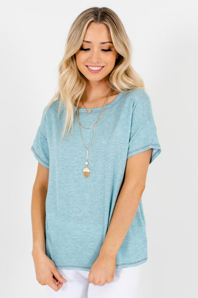 Light Heather Blue Cute and Comfortable Boutique Tees for Women
