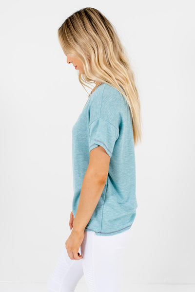 Women's Light Heather Blue Raw Hem Boutique T-Shirt