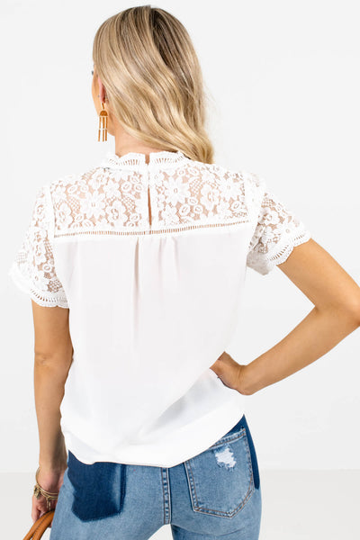 Women's White Ladder Lace Accented Boutique Blouse
