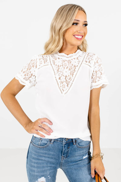 White Semi-Sheer Floral Lace Boutique Blouses for Women